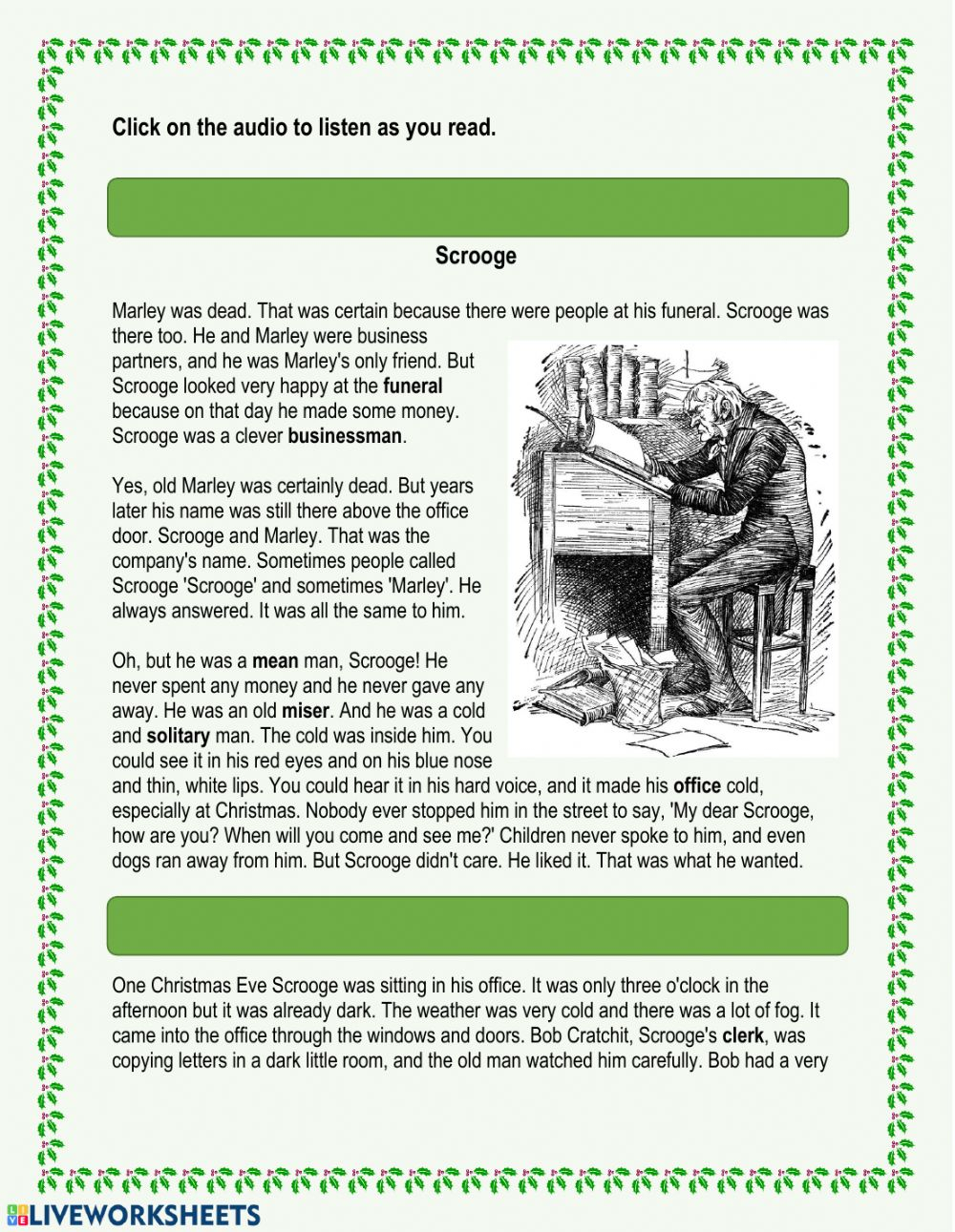 A Christmas Carol - Chapter 1 Worksheet