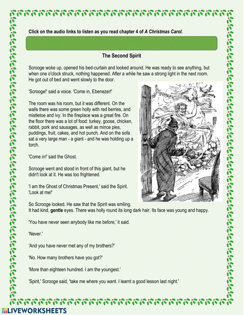 A Christmas Carol - Chapter 4 Worksheet
