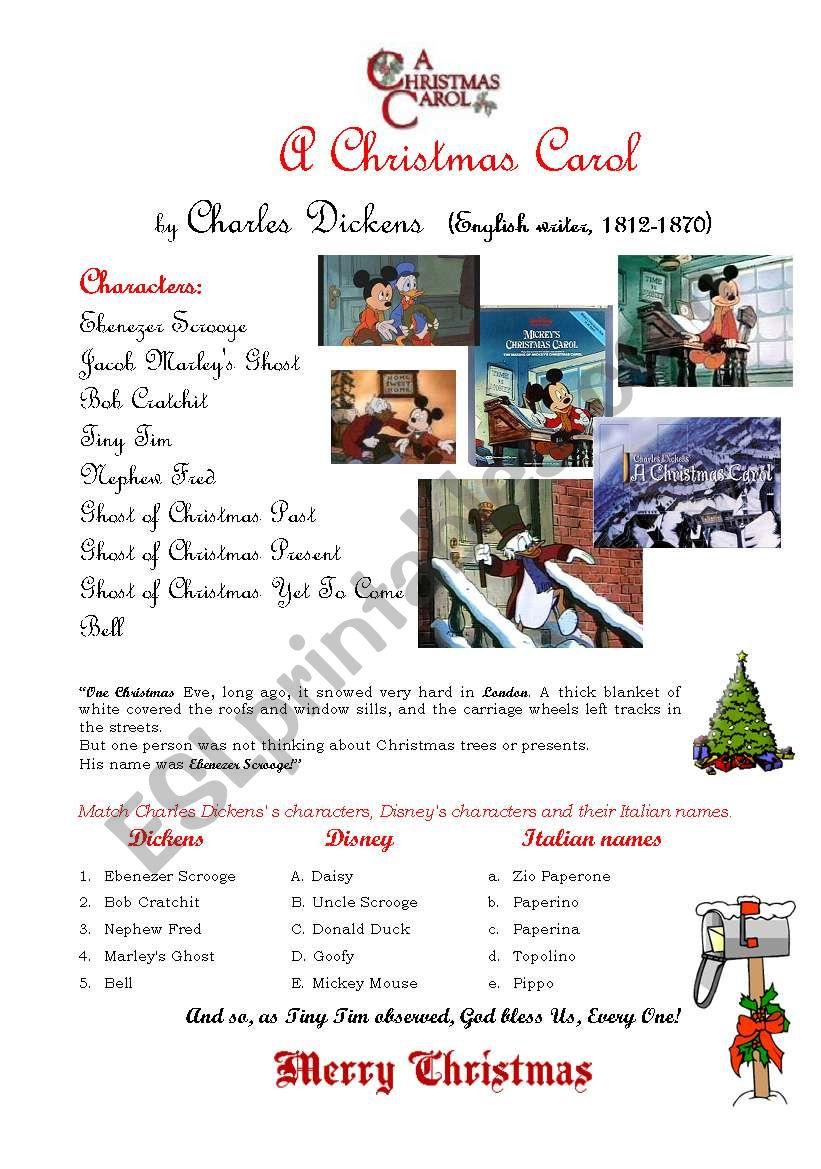 A Christmas Carol - Esl Worksheetcustomer