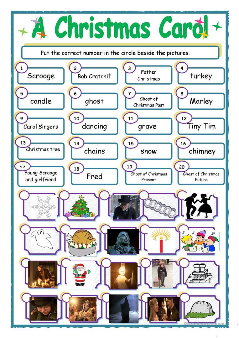 A Christmas Carol' Match Up - English Esl Worksheets For