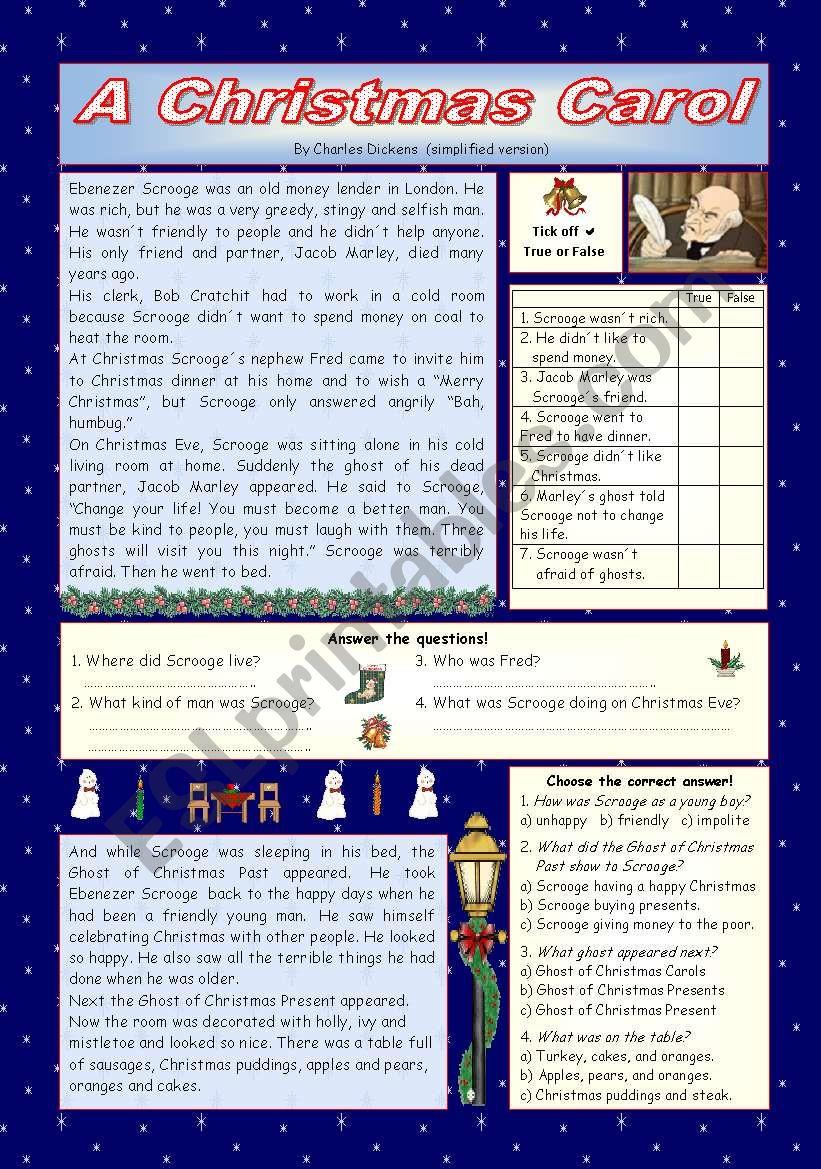 """A Christmas Carol"""" - Simplified Version - Esl Worksheet"""