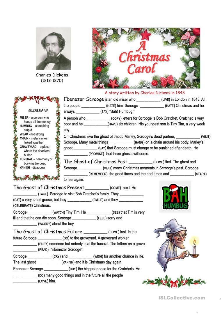 A Christmas Carol Summary Cloze - English Esl Worksheets For