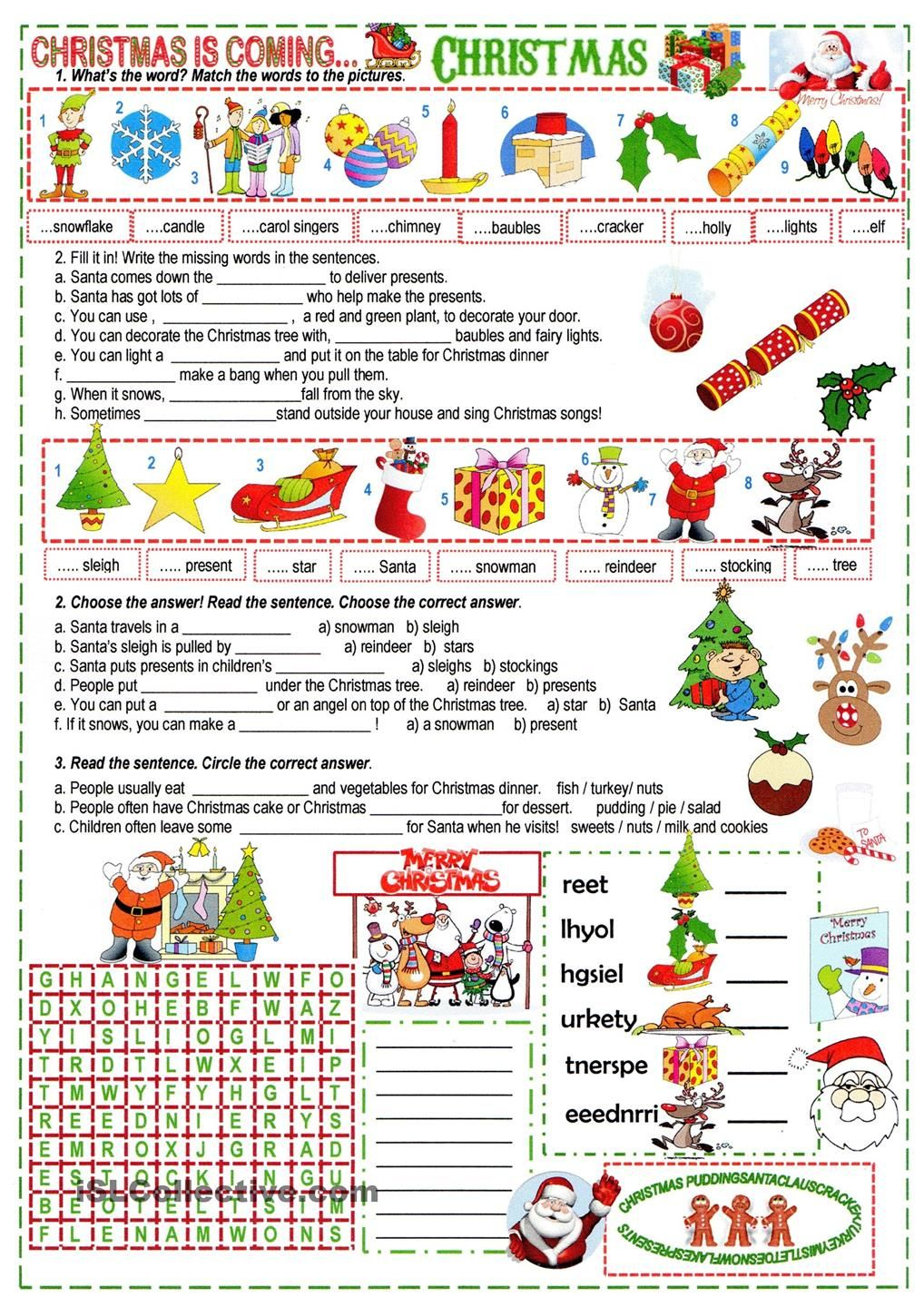 A Xmas Cloze | Christmas Worksheets, Christmas Lesson