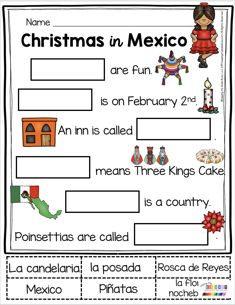 All About Christmas - Free Activities - Mexico Italy And