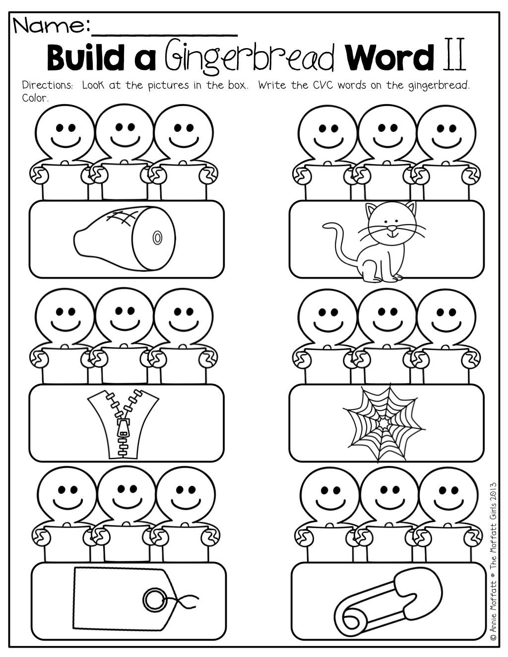 Build A Gingerbread Cvc Word!   Christmas Kindergarten