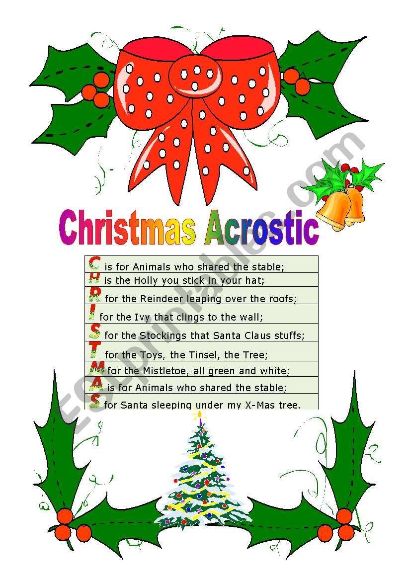 Christmas Acrostic - Esl Worksheetcassy