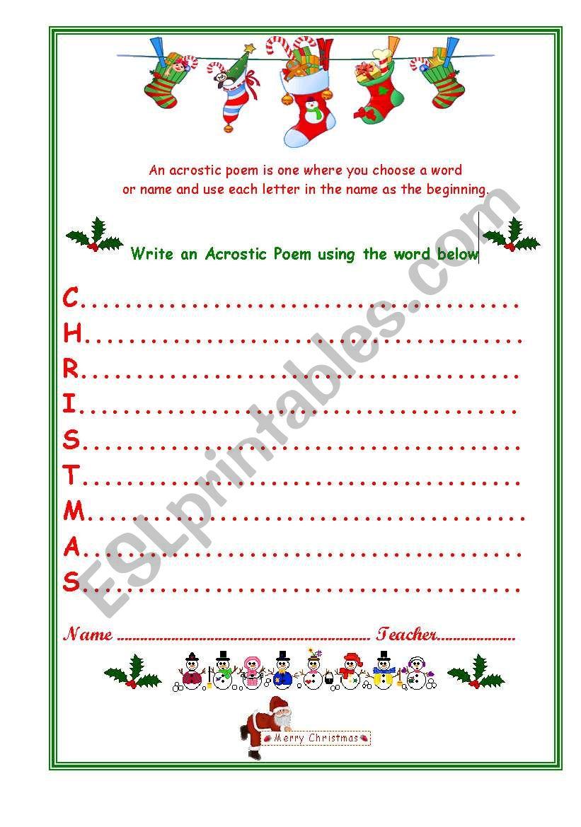 Christmas Acrostic - Esl Worksheetvenezababi