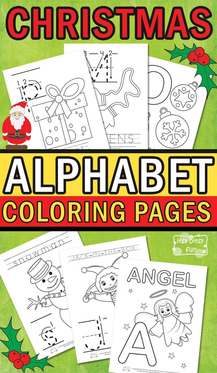 Christmas Alphabet Coloring Pages - Itsybitsyfun