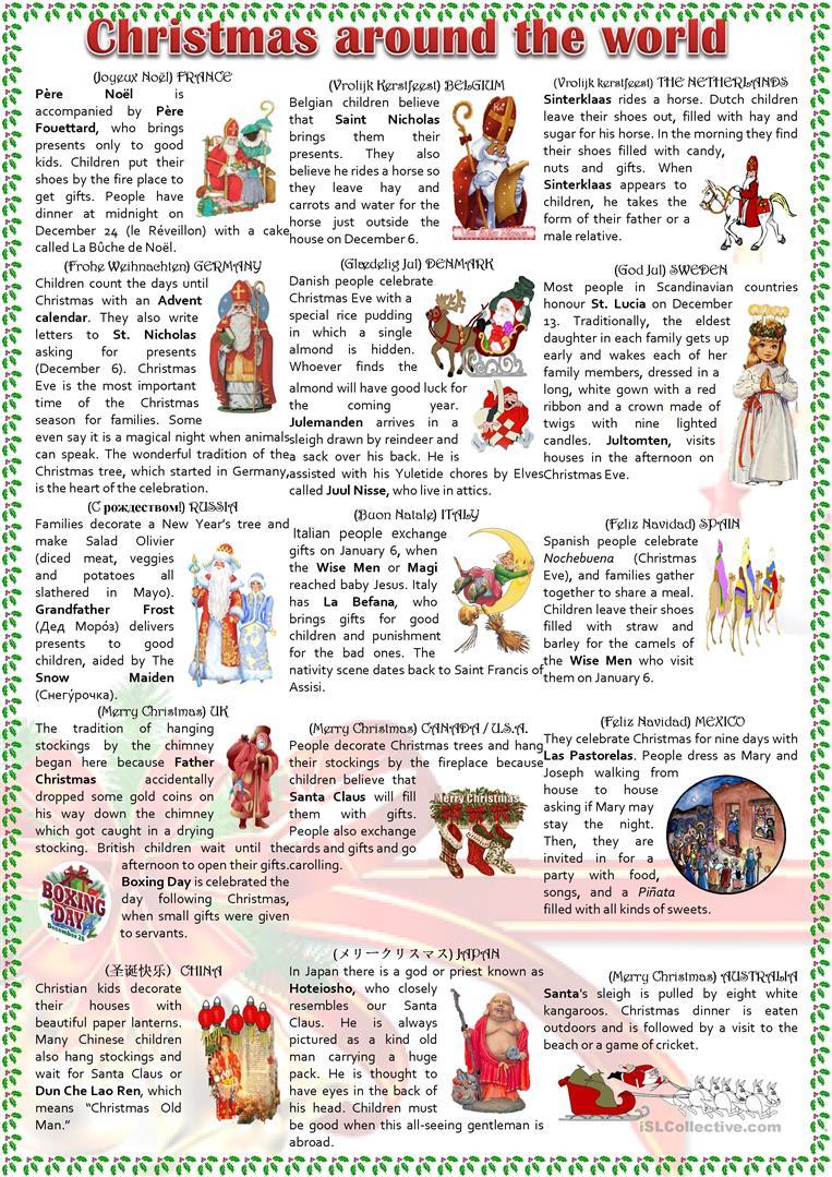 Christmas Around The World - English Esl Worksheets For