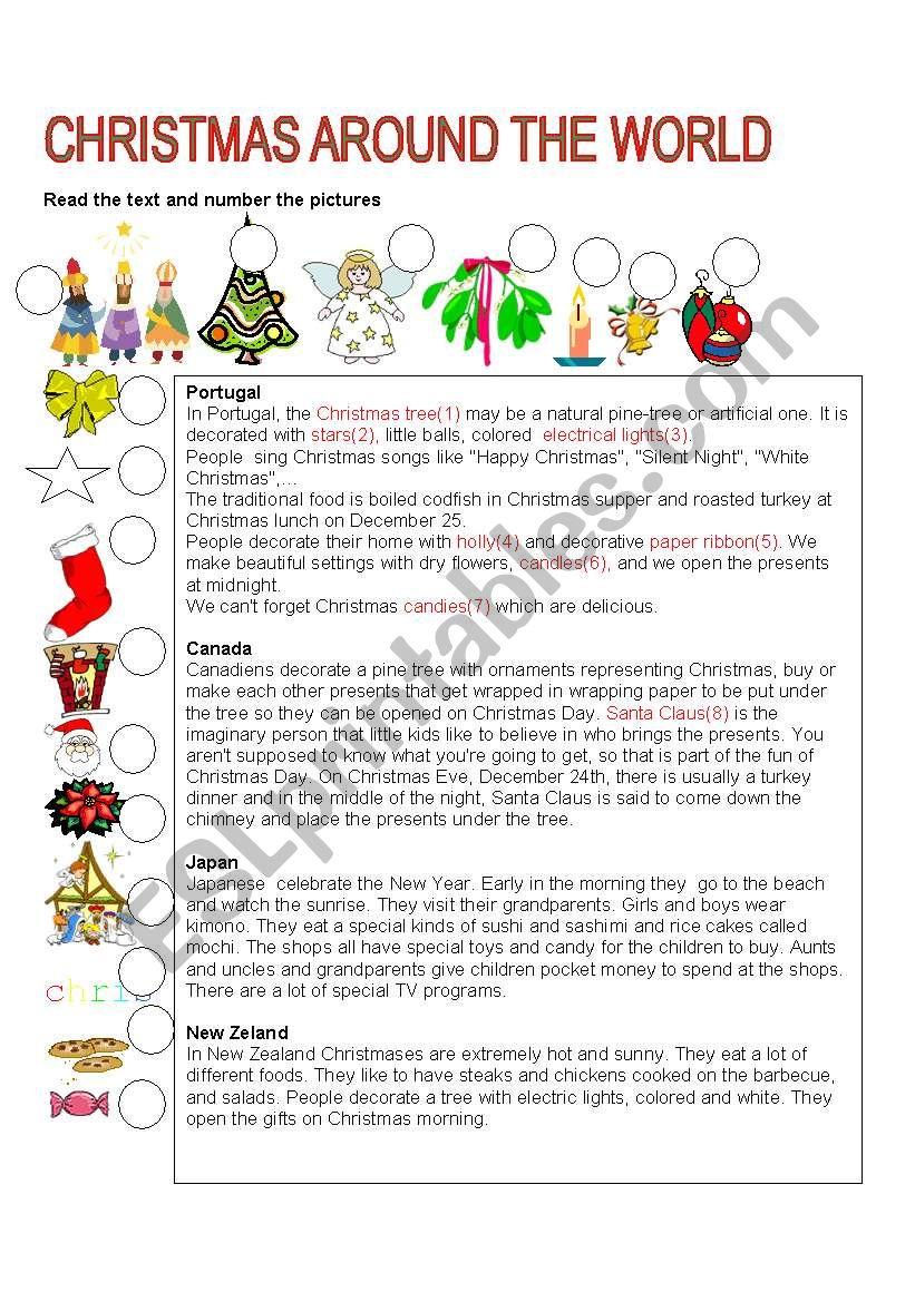 Christmas Around The World Esl Worksheetlefevre In Other