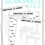 Christmas Articulation Worksheets For S And Z Words