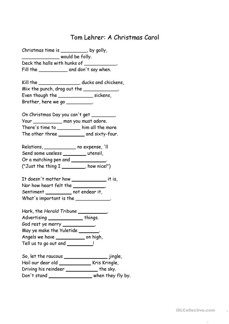 Christmas Carol Cloze - English Esl Worksheets For Distance