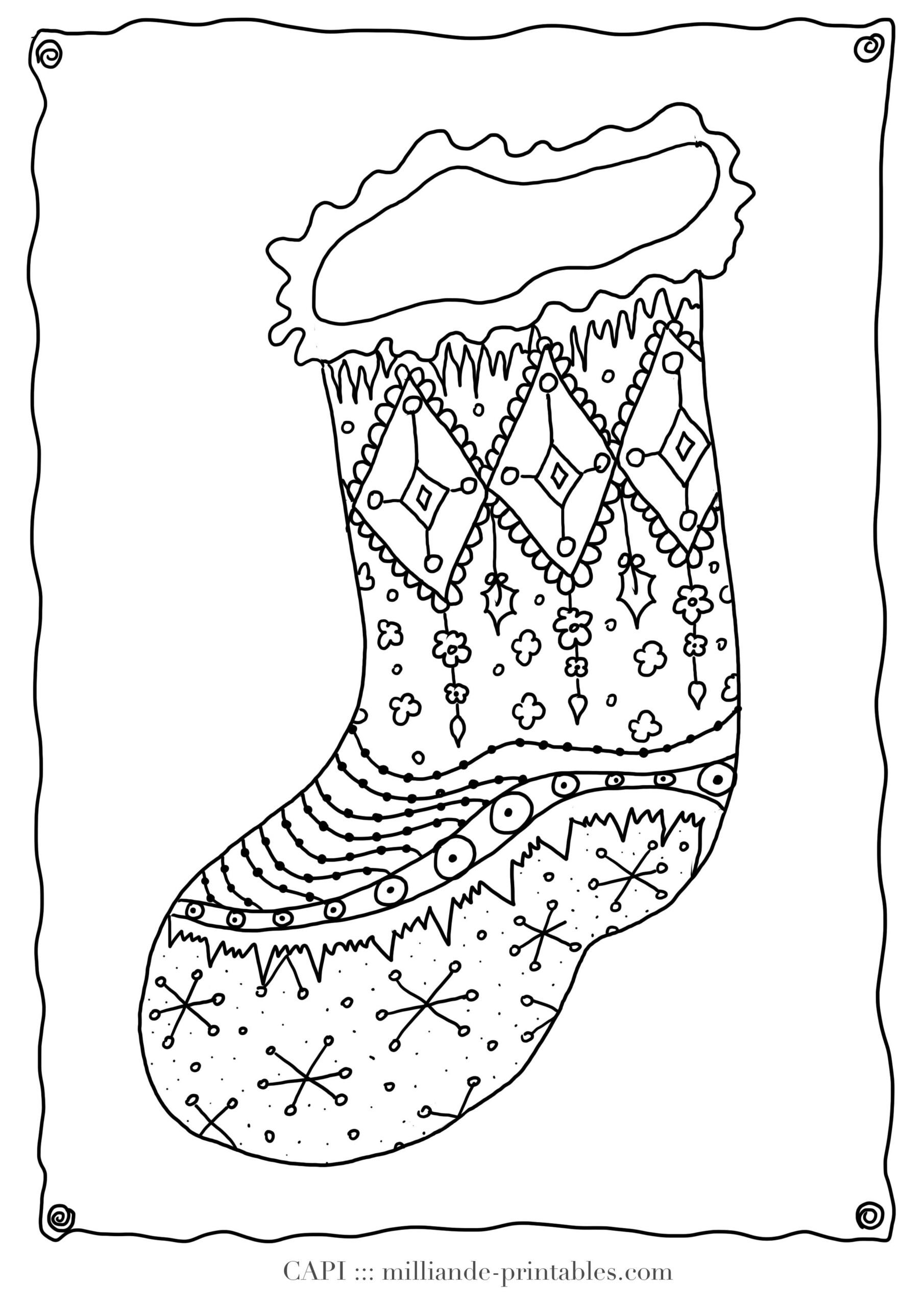 Christmas Coloring Page Stocking, Milliande's Free Christmas