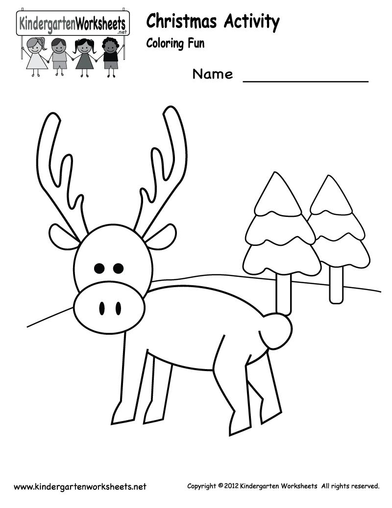 Christmas Coloring Worksheet - Free Kindergarten Holiday
