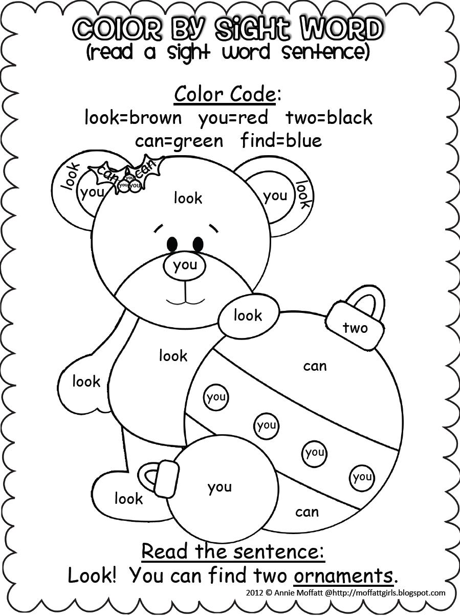 Christmas Colorsight Word Sentences (Pre-Primer)   Sight
