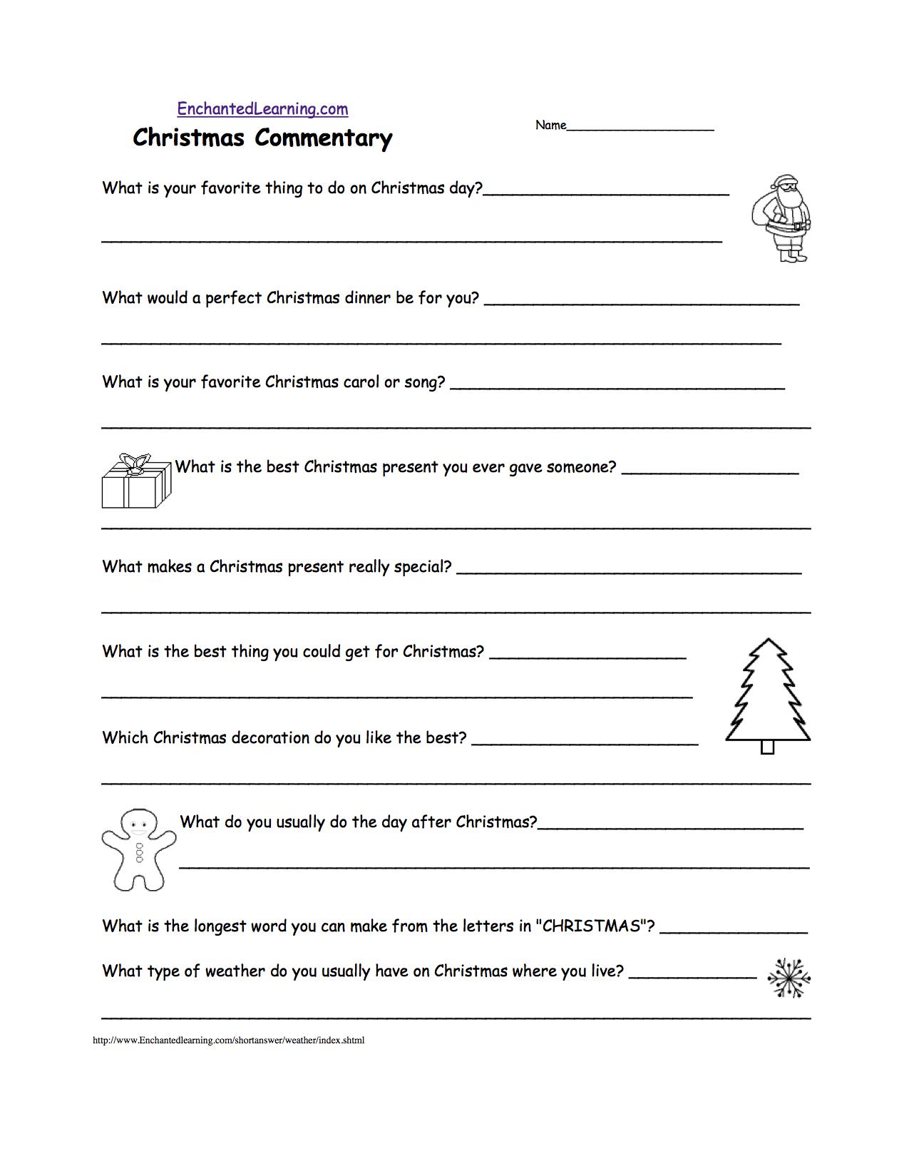 Christmas Commentary - Short Answer Worksheet