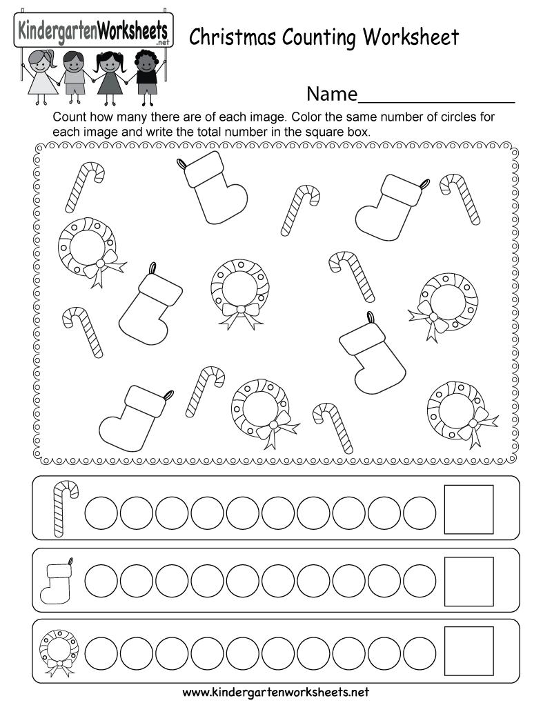 Christmas Counting Worksheet - Free Kindergarten Holiday