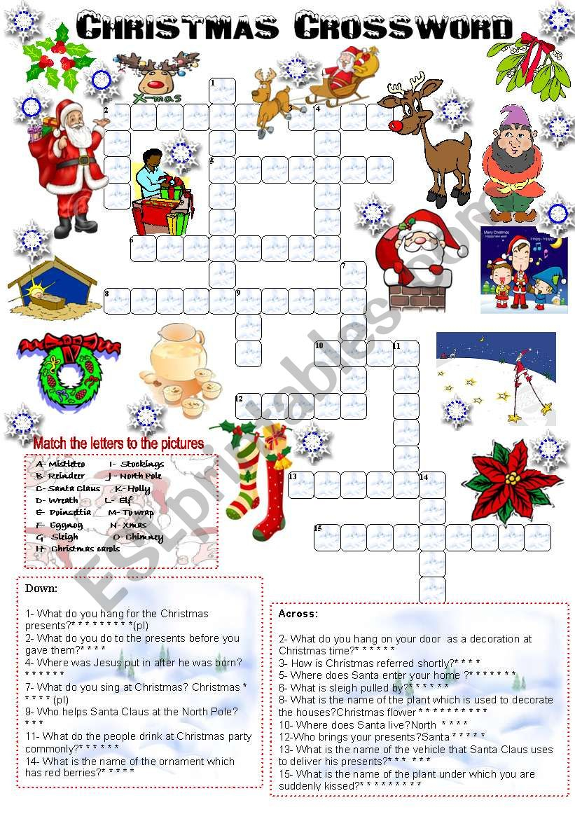 Christmas Crossword (05.12.2008) - Esl Worksheetemila