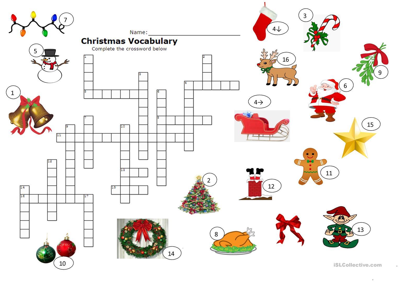 Christmas Crossword - English Esl Worksheets For Distance