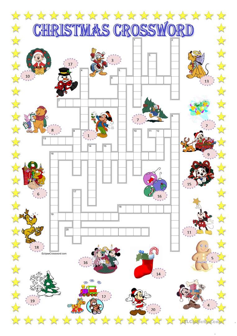 Christmas Crossword + Key - English Esl Worksheets For