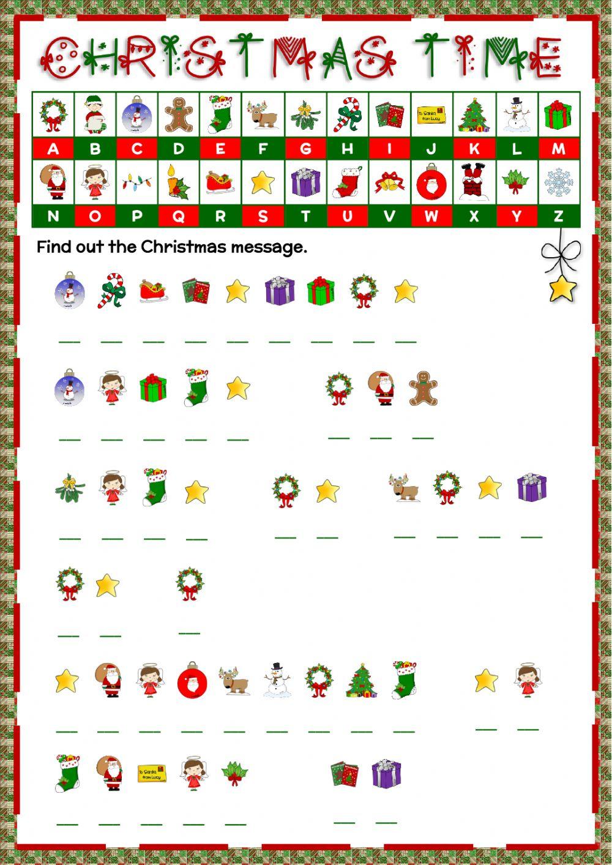 Christmas - Cryptogram Worksheet