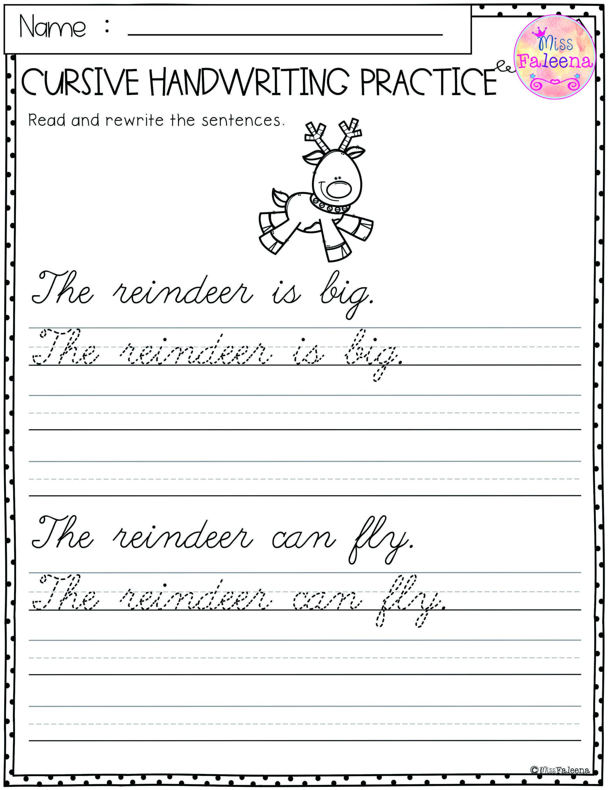 Christmas Cursive Handwriting Practice | Cursive Handwriting