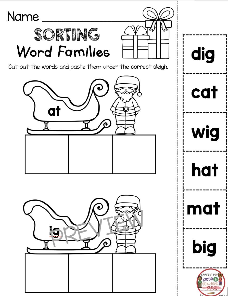 Christmas Cvc Words - Freebies - Kindergarten And First