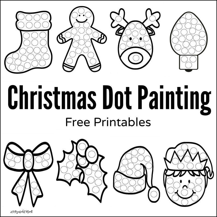 Christmas Dot Painting {Free Printables} | Preschool