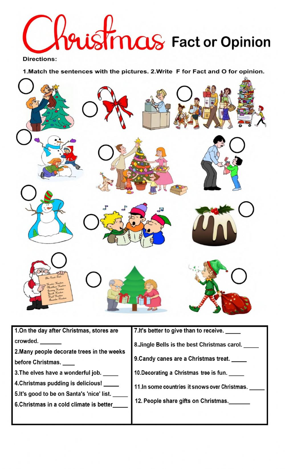 Christmas Fact Or Opinion Worksheet