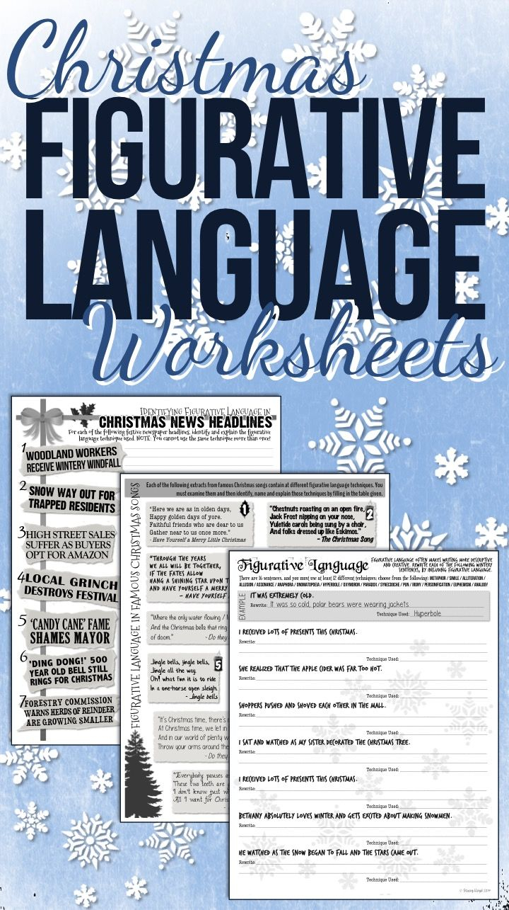 Christmas Figurative Language Worksheets | Figurative