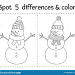 Christmas Find Differences And Color Game For Children