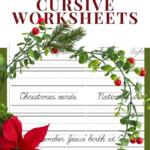 Christmas Free Printable Cursive Handwriting Worksheets