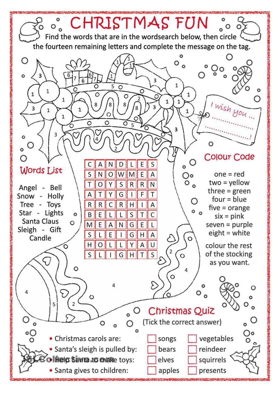 Christmas Fun …   Christmas Worksheets, Christmas Lesson