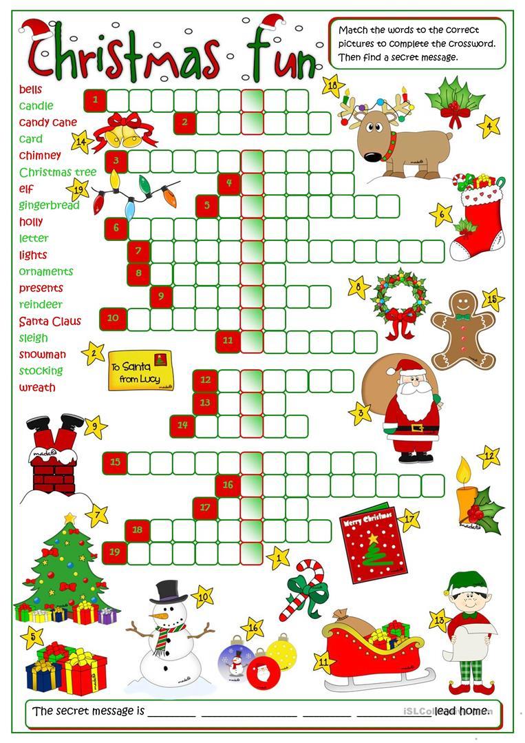 Christmas Fun - Crossword - English Esl Worksheets For