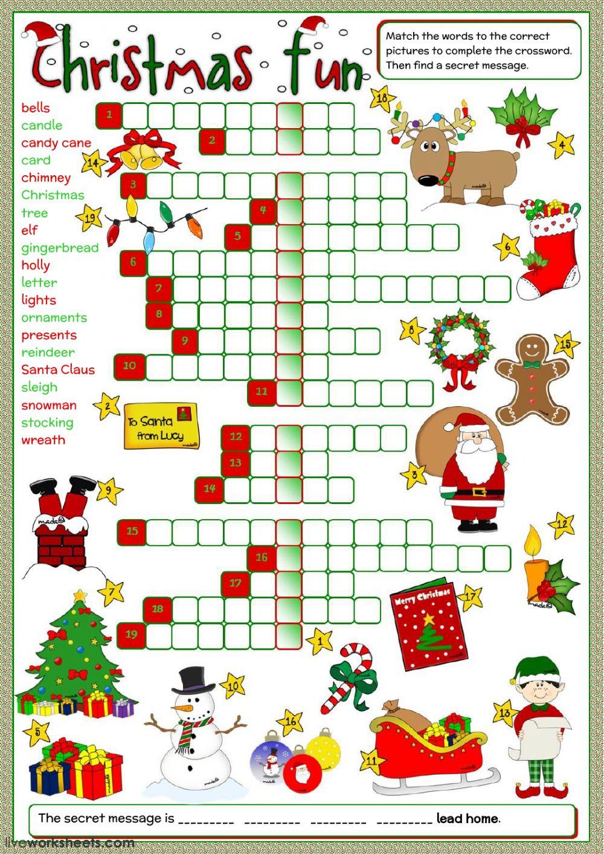 Christmas Fun - Crossword Worksheet