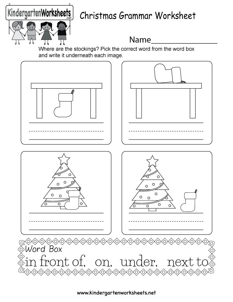 Christmas Grammar Worksheet - Free Kindergarten Holiday