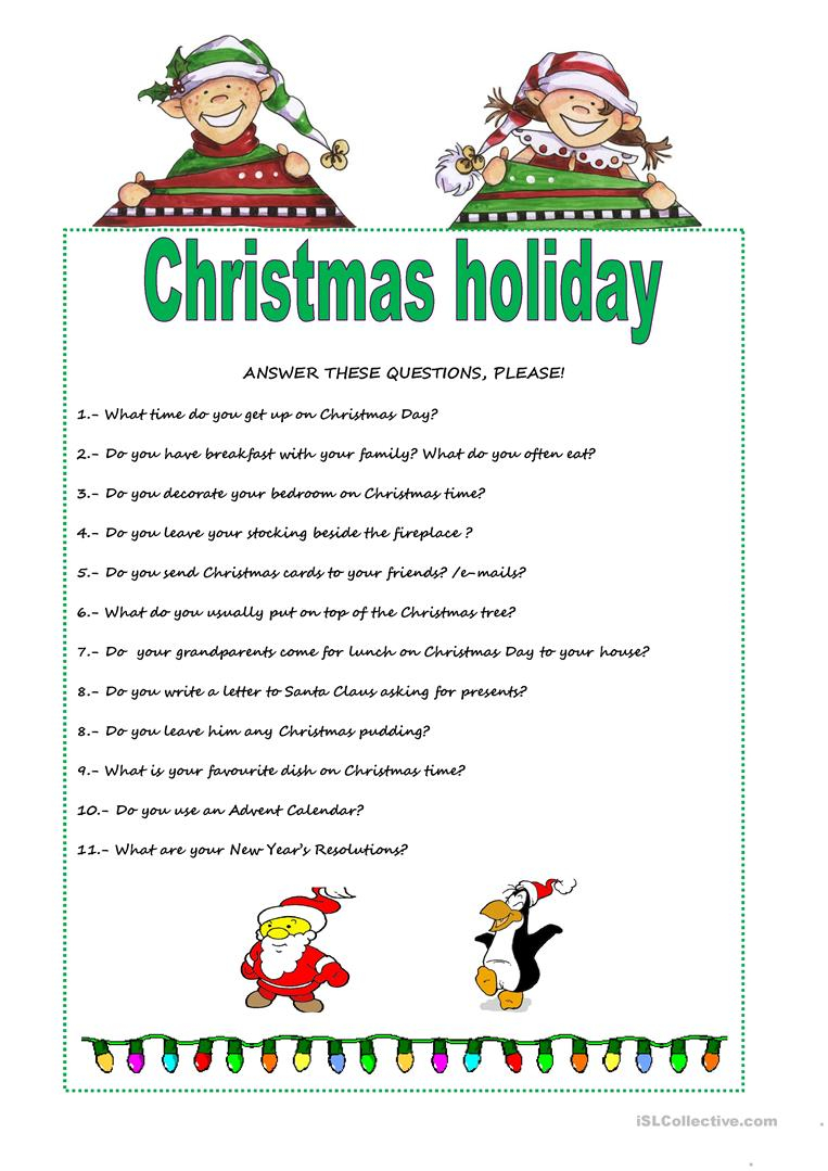 Christmas Holiday - English Esl Worksheets For Distance