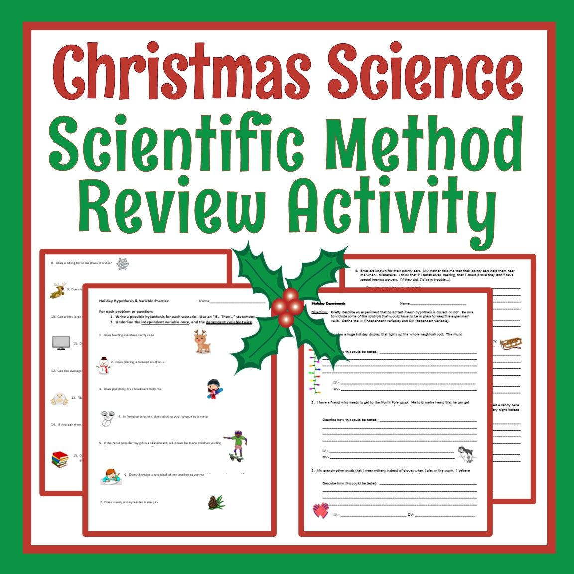 Christmas Holiday Science Worksheet For Middle School