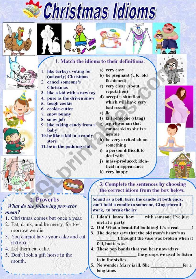Christmas Idioms And Proverbs (With Keys) - Esl Worksheet