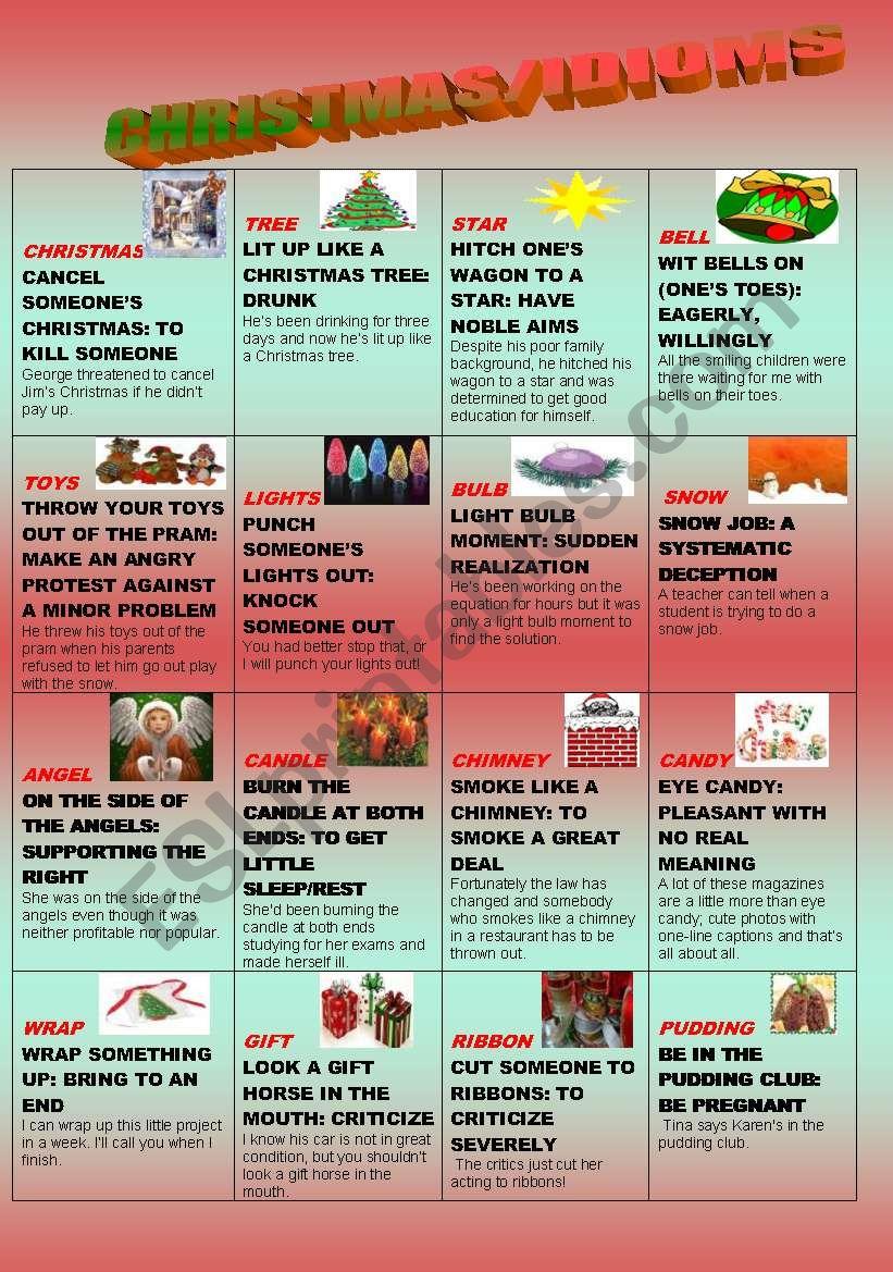 Christmas/idioms - Esl Worksheetthessaloniki