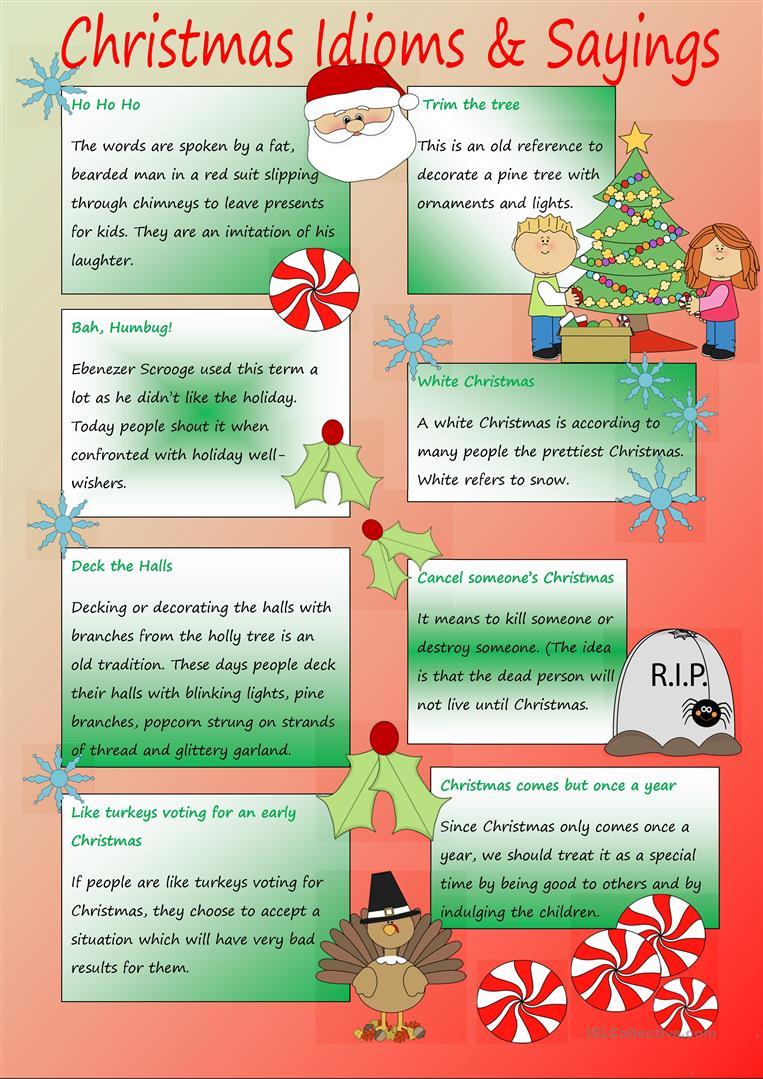 Christmas Idioms & Sayings - English Esl Worksheets For