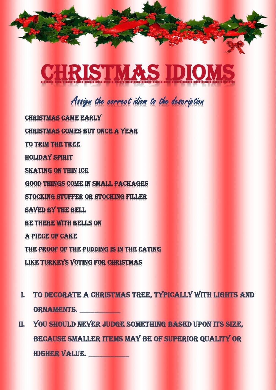 Christmas Idioms Worksheet