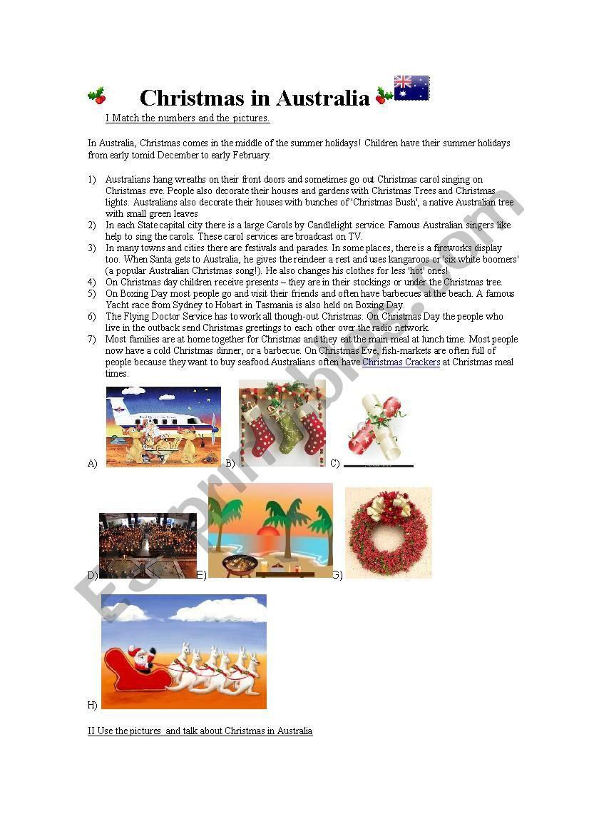 Christmas In Australia - Esl Worksheetcarolsica
