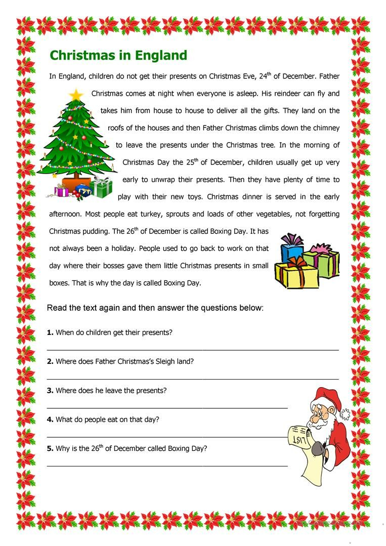 Christmas In England Worksheet - Free Esl Printable