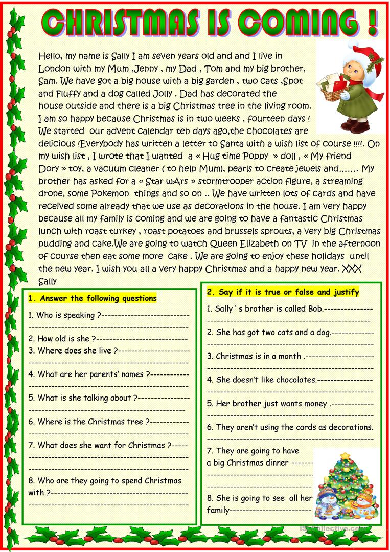 Christmas Is Coming ; Basic Christmas Reading With A Poem On