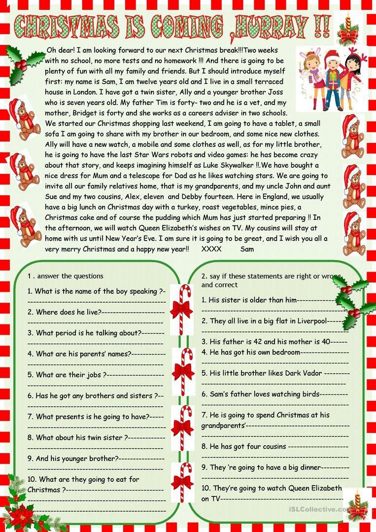 Christmas Is Coming : Reading Comprehension   Christmas