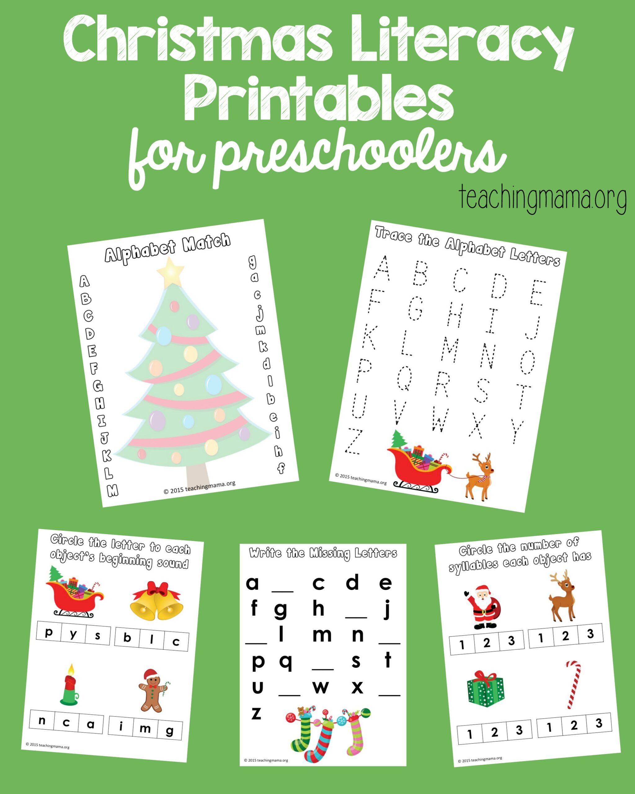 Christmas Literacy Printables For Preschoolers