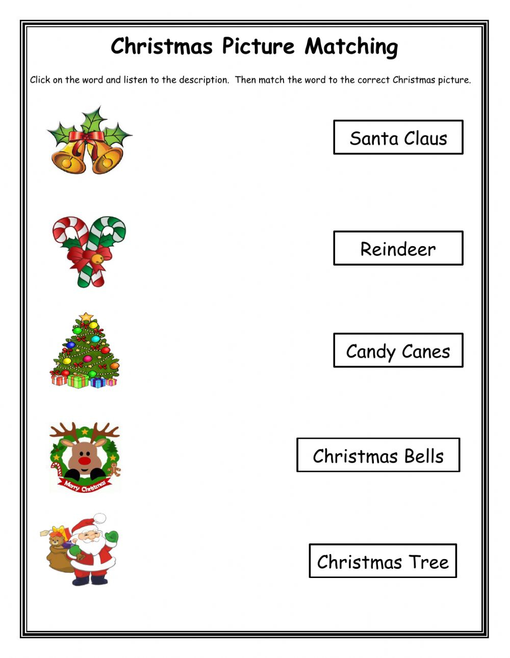 Christmas Matching 2 Worksheet