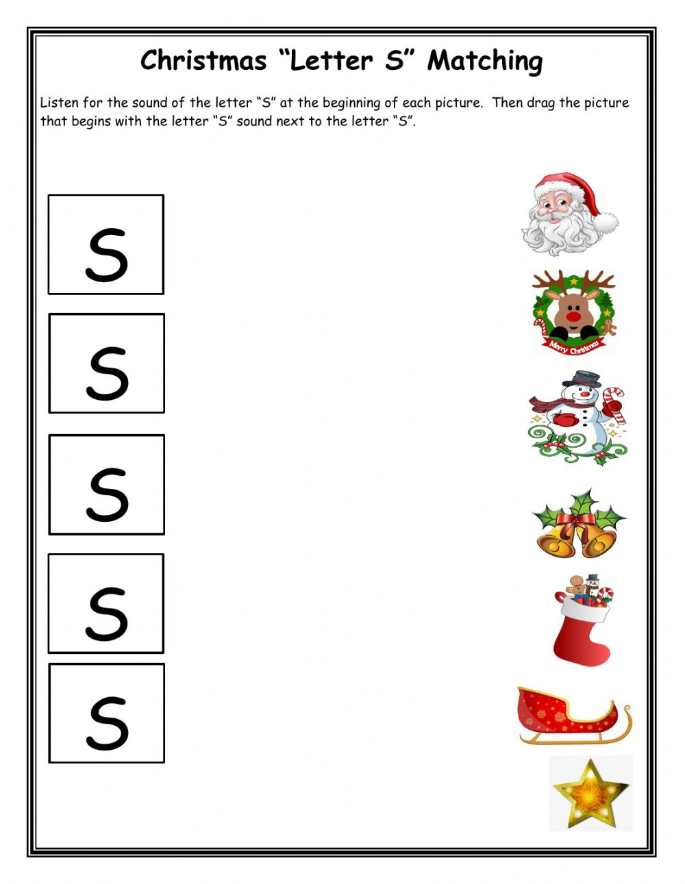 Christmas Matching Letter S Worksheet