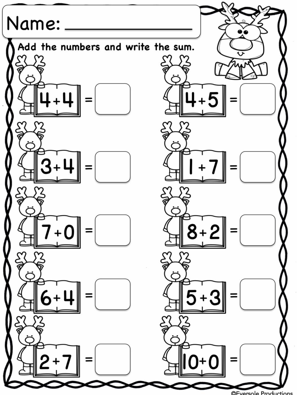 Christmas Math | Kindergarten Math Worksheets Addition